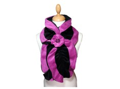ECHARPE FEMME en VELOURS et POLAIRE - Coloris noir et rose purple