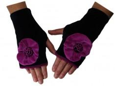 MITAINES en VELOURS doublées POLAIRE - Coloris noir et rose purple