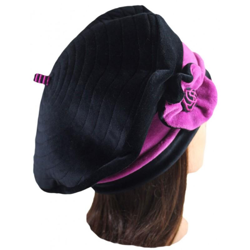 beret femme en velours doubl polaire coloris noir et rose purple pom 39 grignote. Black Bedroom Furniture Sets. Home Design Ideas