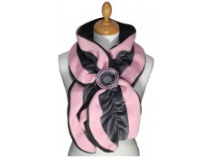 ECHARPE FEMME en VELOURS et POLAIRE coloris rose tendre et gris souris