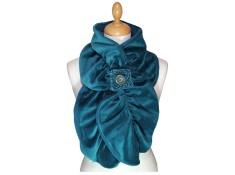 ECHARPE FEMME en VELOURS et POLAIRE - Coloris bleu canard