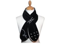 ECHARPE FILLE PETITE MISS A COULISSE en Polaire et Velours - Coloris noir et gris perle