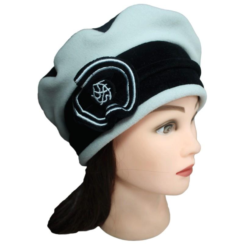 beret femme coloris noir et gris perle en velours et polaire pom 39 grignote. Black Bedroom Furniture Sets. Home Design Ideas