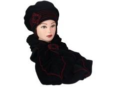 ENSEMBLE Béret et Echarpe Coloris: noir et surpiqûres rouge en VELOURS coordonné entièrement doublé POLAIRE.