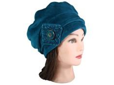 BERET FEMME en VELOURS doublé POLAIRE . Coloris bleu canard.