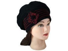 BERET FEMME en VELOURS doublé POLAIRE - Coloris noir et surpiqûres de couleur rouge
