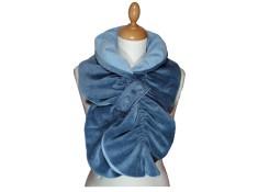 ECHARPE FEMME en VELOURS et POLAIRE - coloris bleu ciel grisé