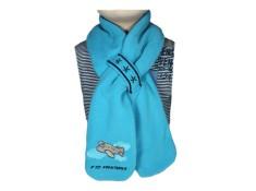 "ECHARPE ""P'tit aventurier"" avec cordons - Velours bleu marine polaire bleu turquoise"