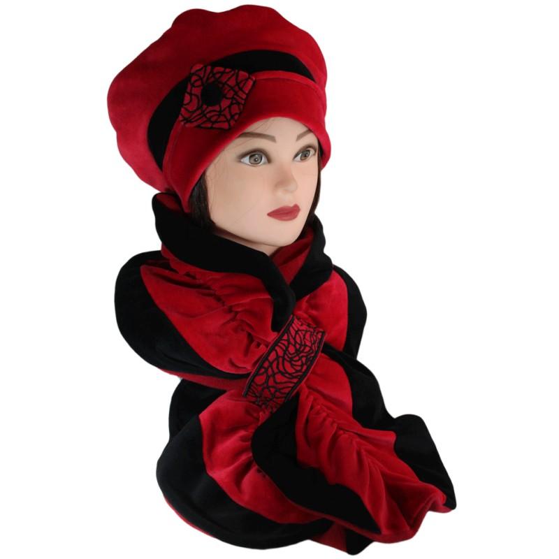 ensemble b ret et echarpe coloris noir et rouge carmin en. Black Bedroom Furniture Sets. Home Design Ideas