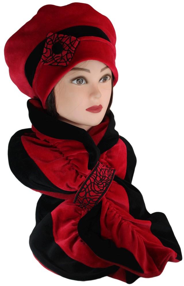 ENSEMBLE Béret et Echarpe Coloris noir et rouge carmin en VELOURS coordonné  entièrement doublé POLAIRE. - Pom Grignote 3f12749c728