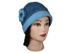 CHAPEAU FEMME en VELOURS doublé POLAIRE  Coloris bleu ciel grisé