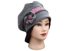 BERET FEMME en VELOURS doublé POLAIRE Minky - Coloris gris souris et rose poudré