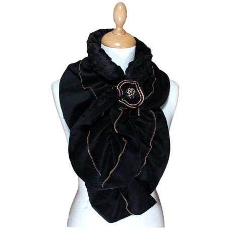 ECHARPE FEMME en VELOURS et POLAIRE Minky - Coloris noir et surpiqûres de  couleur camel 63df8bb5f31