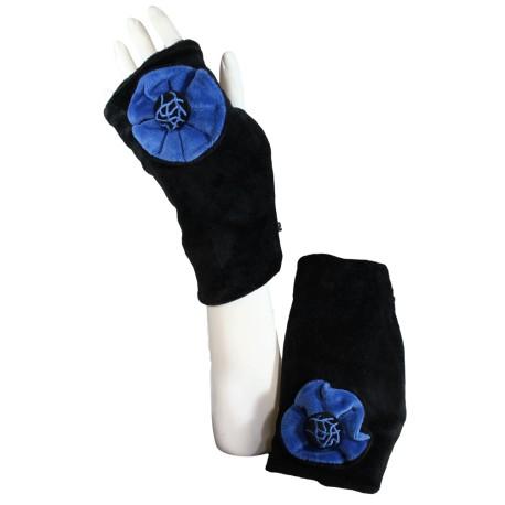 MITAINES en VELOURS doublées POLAIRE - Coloris bleu impérial et noir