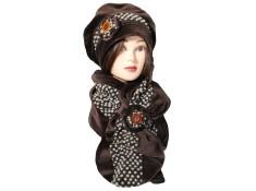 ENSEMBLE  Béret et écharpe en VELOURS - Coloris chocolat et laine plumetis coordonnée - Jolie fleur agrémentée d'un bouton