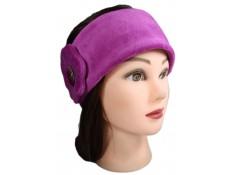 BANDEAU CACHE OREILLES en VELOURS et POLAIRE coloris rose purple