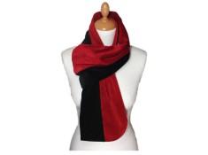 ECHARPE FEMME en VELOURS - Coloris noir et rouge passion