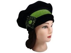 BERET FEMME en VELOURS doublé POLAIRE - Coloris noir et vert amande