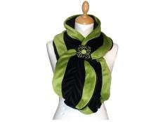 ECHARPE FEMME en VELOURS et POLAIRE - coloris noir et vert amande