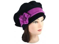 BERET FEMME en VELOURS doublé POLAIRE coloris noir et rose purple