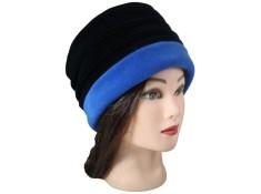 CHAPEAU FEMME - Coloris noir et bleu impèrial en VELOURS doublé POLAIRE