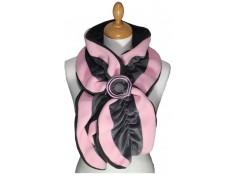 ECHARPE FEMME en VELOURS et POLAIRE  - Coloris rose tendre et gris souris