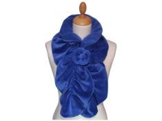 ECHARPE FEMME - Coloris bleu impèrial  en VELOURS et POLAIRE