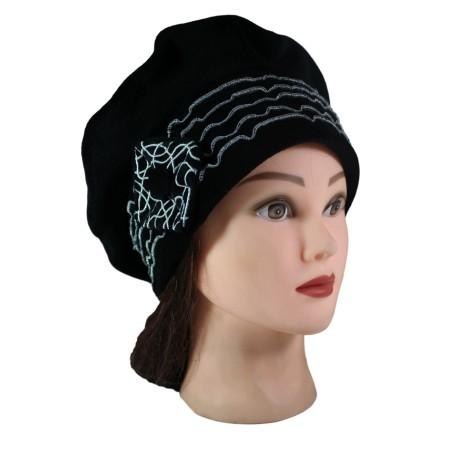 BERET FEMME en VELOURS doublé POLAIRE - Coloris noir et surpiqûres de couleur argent