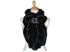 ECHARPE FEMME en VELOURS et POLAIRE - Coloris noir et surpiqûres de couleur argent