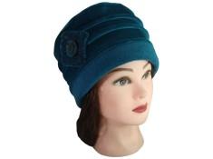 CHAPEAU FEMME en VELOURS doublé POLAIRE  Coloris bleu canard.