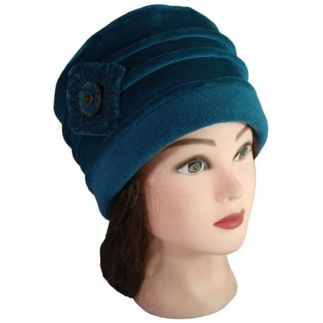 CHAPEAU FEMME en VELOURS doublé POLAIRE - coloris bleu canard
