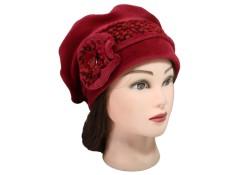 BERET FEMME en VELOURS coloris rouge cuivré et laine plumetis coordonnée. Jolie fleur agrémentée d'un bouton émaillé.