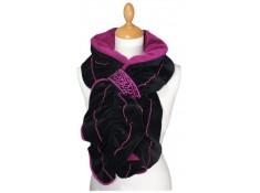 ECHARPE FEMME en VELOURS et POLAIRE noir et rose purple