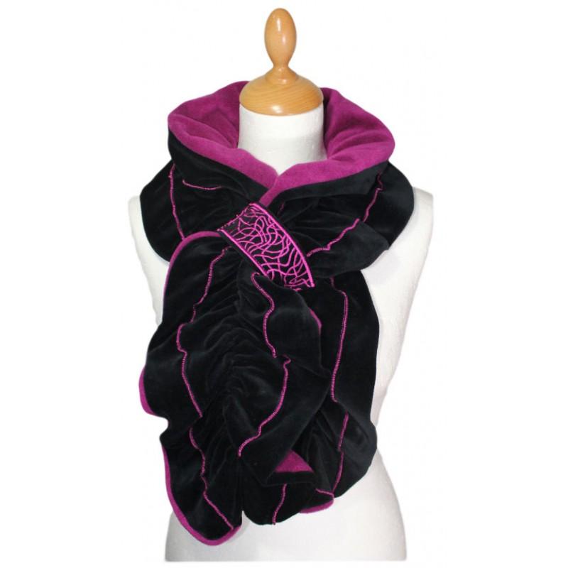 ECHARPE FEMME en VELOURS et POLAIRE - Coloris noir et rose purple ... 5a719db4a4f