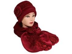 ENSEMBLE Chapeau et Echarpe en VELOURS coordonné entièrement doublé POLAIRE. Coloris rouge cuivré et laine plumetis coordonnée