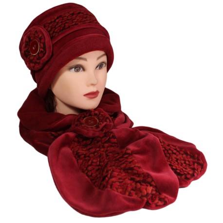 ENSEMBLE Chapeau et Echarpe en VELOURS coordonné entièrement doublé  POLAIRE. Coloris rouge cuivré et laine f1e868064c4