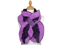 ECHARPE FEMME en VELOURS et POLAIRE - coloris Aubergine et lilas parme