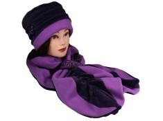 ENSEMBLE Chapeau et Echarpe coordonnée en VELOURS entièrement doublé POLAIRE. Coloris Aubergine et lilas parme