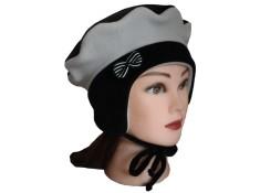 BERET FILLE  Cache-oreilles avec cordons en Velours et Polaire Coloris noir et gris perle