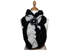 ECHARPE FEMME en VELOURS et POLAIRE - Coloris noir et gris perle