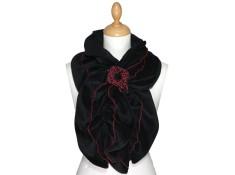 ECHARPE FEMME en VELOURS et POLAIRE - Coloris noir et surpiqûres de couleur rouge