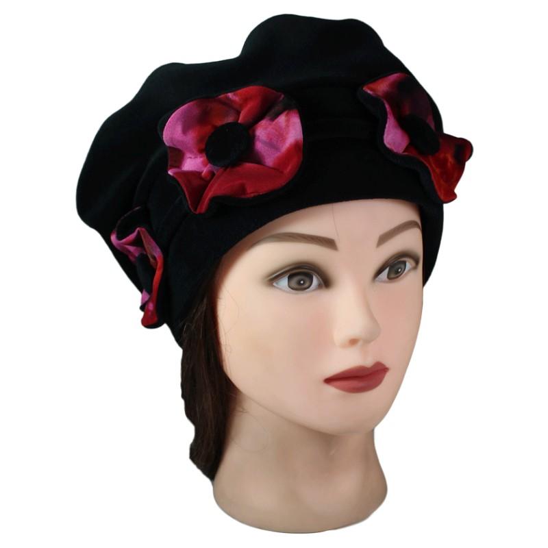 beret femme 3 fleurs en velours doubl polaire pom. Black Bedroom Furniture Sets. Home Design Ideas