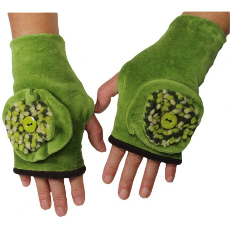 MITAINES en Velours et lainage. Doublée polaire - Camaïeu de vert