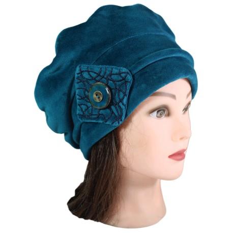 BERET FEMME . Coloris bleu canard en VELOURS doublé POLAIRE