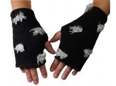 MITAINES FEMME en Lainage - Coloris noir impression laine gris claire - entièrement doublé polaire.