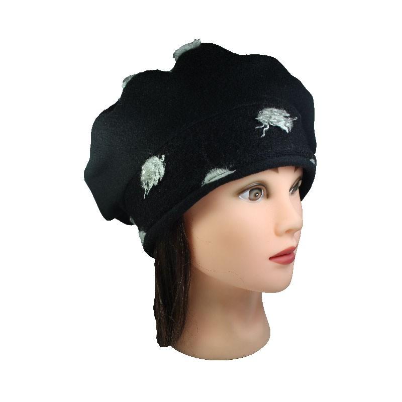 beret femme en lainage coloris noir impression laine gris claire enti rement doubl polaire. Black Bedroom Furniture Sets. Home Design Ideas