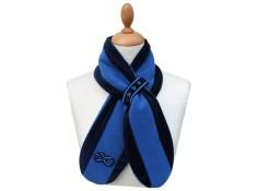 ECHARPE FILLE PETITE MISS A COULISSE en Polaire et Velours. Coloris harmonie de bleu marine et bleu roi