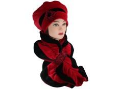 ENSEMBLE Béret et Echarpe Coloris noir et rouge carmin en VELOURS coordonné entièrement doublé POLAIRE.