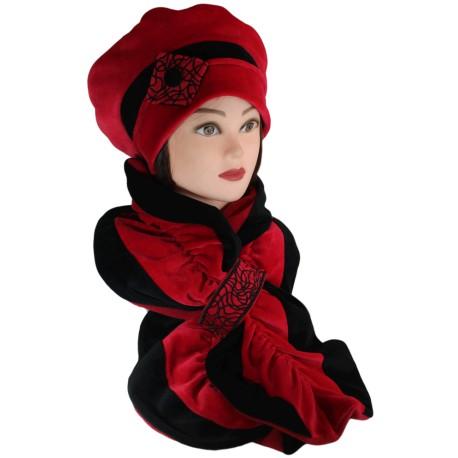 ENSEMBLE Béret et Echarpe Coloris noir et rouge carmin en VELOURS coordonné  entièrement doublé POLAIRE. 71712c6a5fc