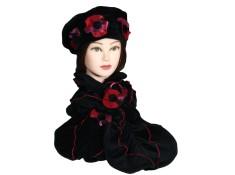 ENSEMBLE Béret et Echarpe avec 3 fleurs à dominance rouge et rose. VELOURS entièrement doublé POLAIRE.